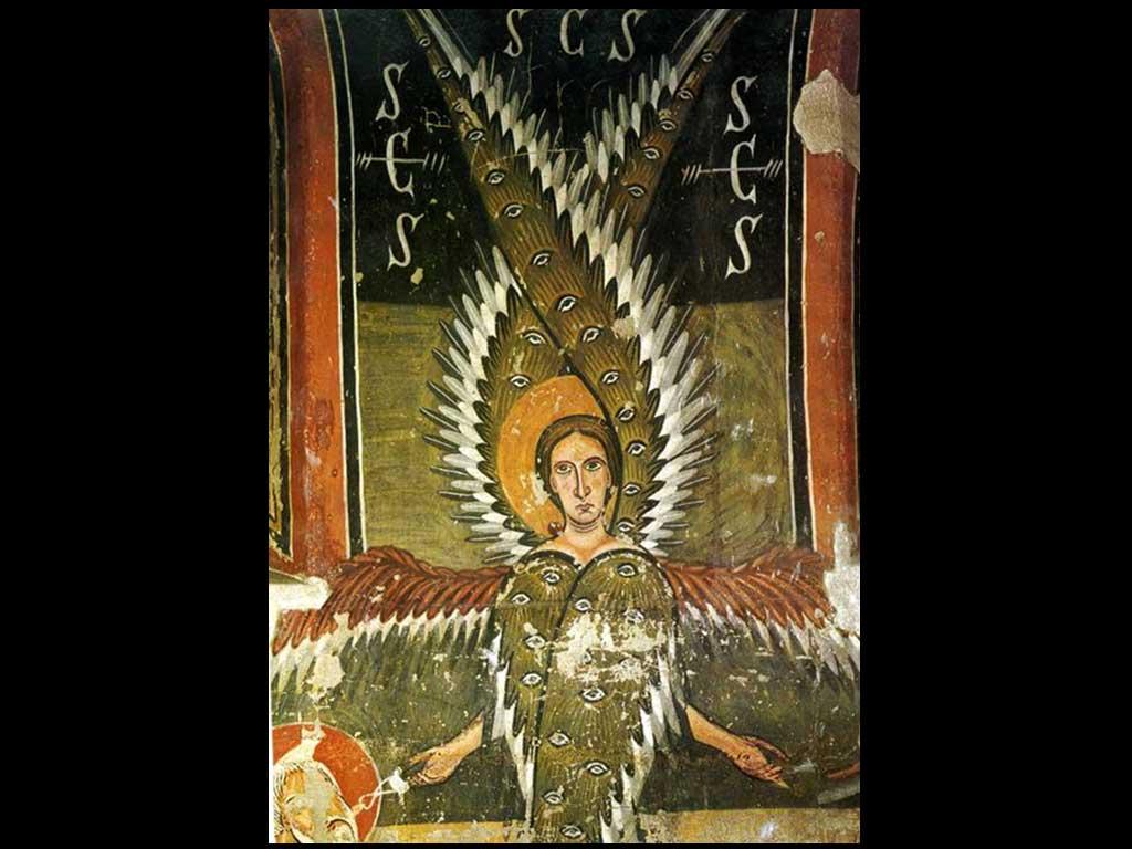 """Los antiguos sabios escondieron sus misterios bajo las figuras de unos seres imaginarios que arraigaron fuertemente en las culturas populares de las distintas civilizaciones. Por un lado, los ángeles o seres celestes, cercanos al origen de la creación y que representan la parte """"volátil"""" de la Gran Obra alquímica. En el otro extremo, los monstruos o seres mal formados atrapados en la tierra, pero que poseen en su interior la misma luz que los ángeles y que en el lenguaje alquímico representarían la parte """"fija"""". En muchas historias mitológicas y también en las leyendas populares, el ángel, o la parte pura, ayuda a manifestar la luz que se oculta en el interior del monstruo, imagen de la creación impura o mezclada. A su vez, este último permite que aquello que era volátil, es decir que no tenía un lugar en la tierra,pueda corporificarse y dar un fruto perfecto.El discurso que presentamos comienza con la imagen de un serafín, un ángel ardiente según la etimología hebrea, que posee seis alas y que transmite el fuego del cielo a los profetas. Serafín del ábside de Santa Maria de Aneu, s. XII"""